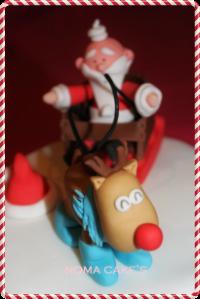 tarta navidad papa noel reno