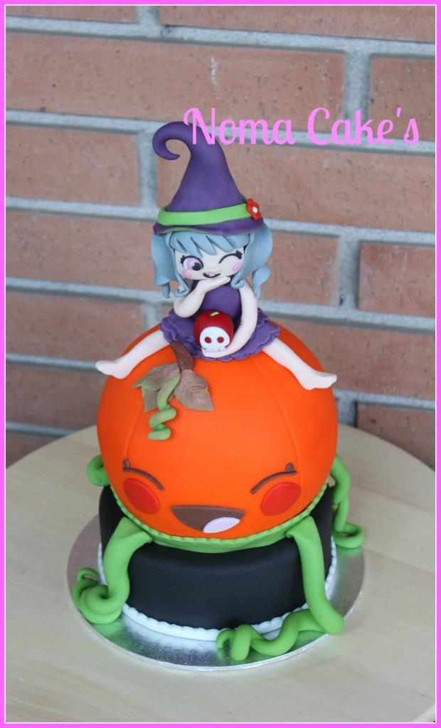 tarta calabaza brujita bruja de halloween modelado