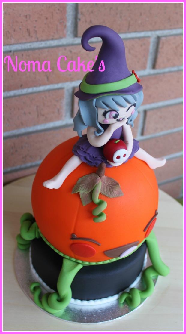 tarta calabaza brujita halloween modelado