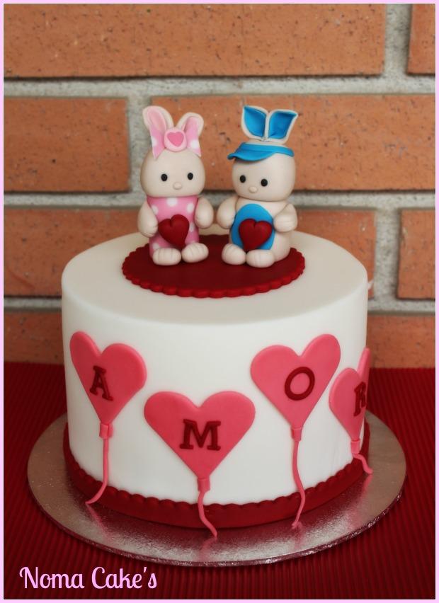 tarta cake san valentin love bunnies