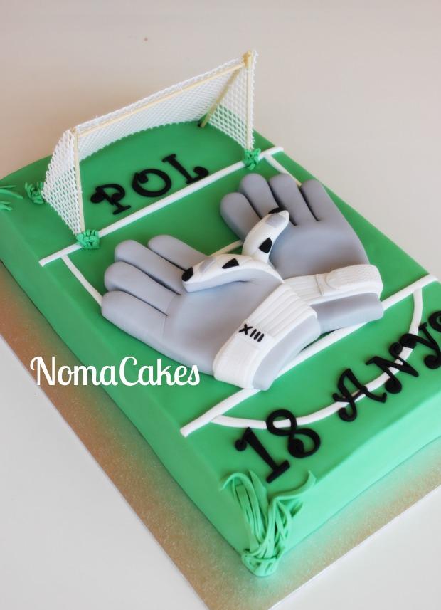 tarta cake portero futbol guantes futbol fondant portería