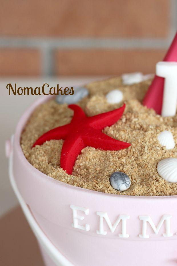 tarta cubo de playa beach bucket cake