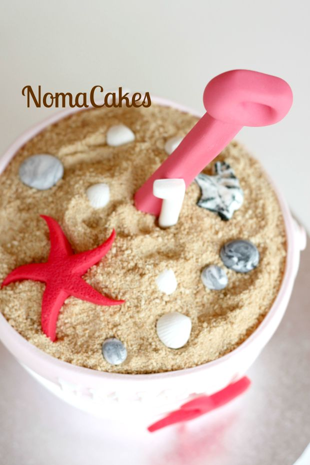 tarta cubo de playa beach bucket cake
