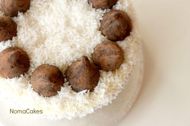 Tarta de coco y trufas